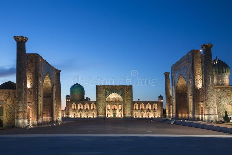 Cuadrado de Registan, Samarkand, Uzbekistán imagenes de archivo