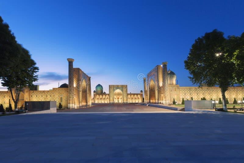 Cuadrado de Registan, Samarkand, Uzbekistán imagen de archivo