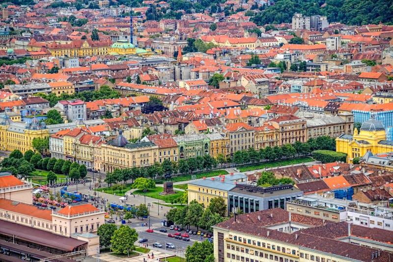 Cuadrado de rey Tomislav en Zagreb. Croacia imagen de archivo