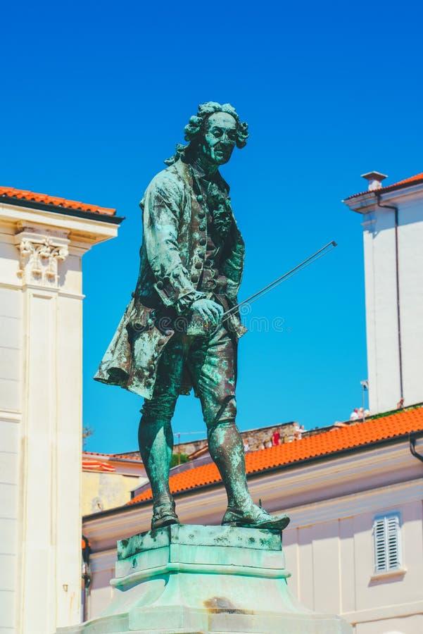 Cuadrado de Tartini en Piran, Eslovenia foto de archivo libre de regalías