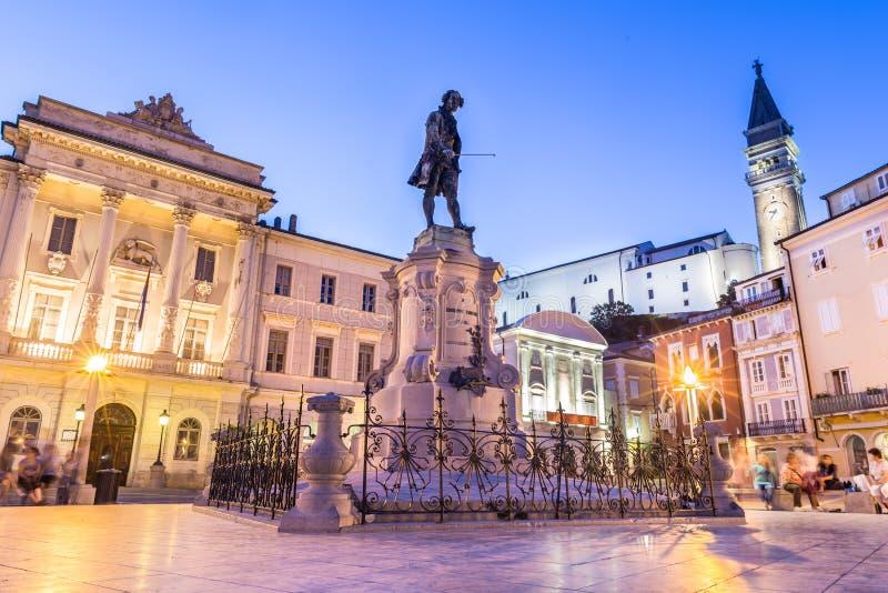 Cuadrado de Tartini en Piran, Eslovenia, Europa imagen de archivo libre de regalías