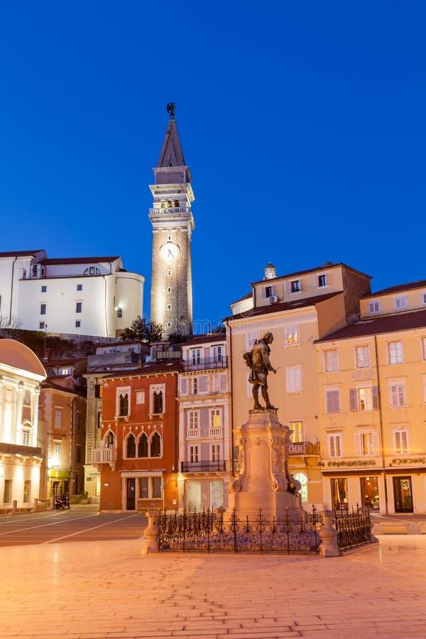 Cuadrado de Tartini en Piran, Eslovenia, Europa fotografía de archivo libre de regalías