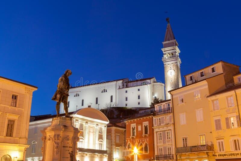 Cuadrado de Tartini en Piran, Eslovenia, Europa imagen de archivo