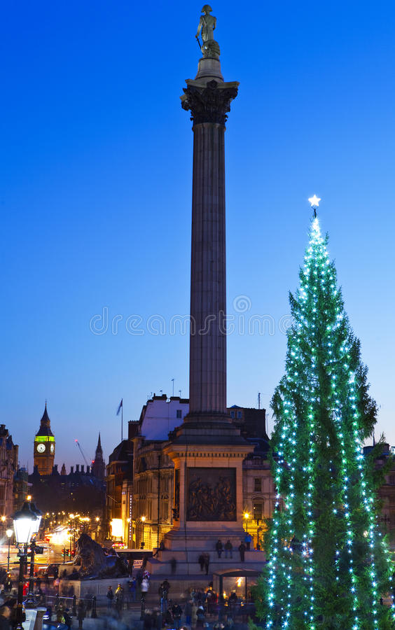 Cuadrado de Trafalgar en la Navidad foto de archivo libre de regalías