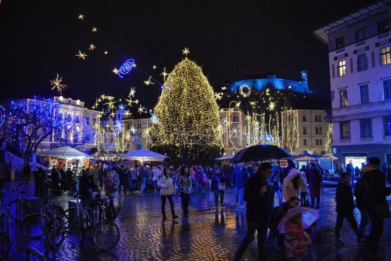 Cuadrado del Año Nuevo de Ljubljana imagen de archivo