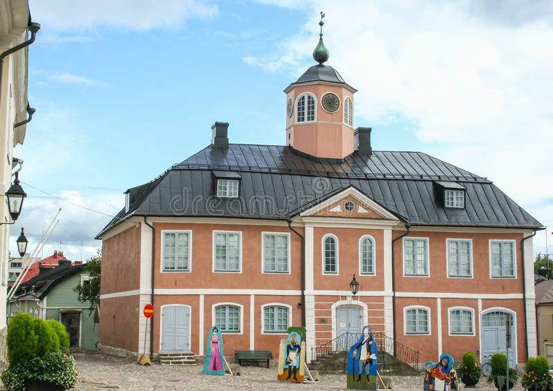 Cuadrado del ayuntamiento en Porvoo, Finlandia fotos de archivo