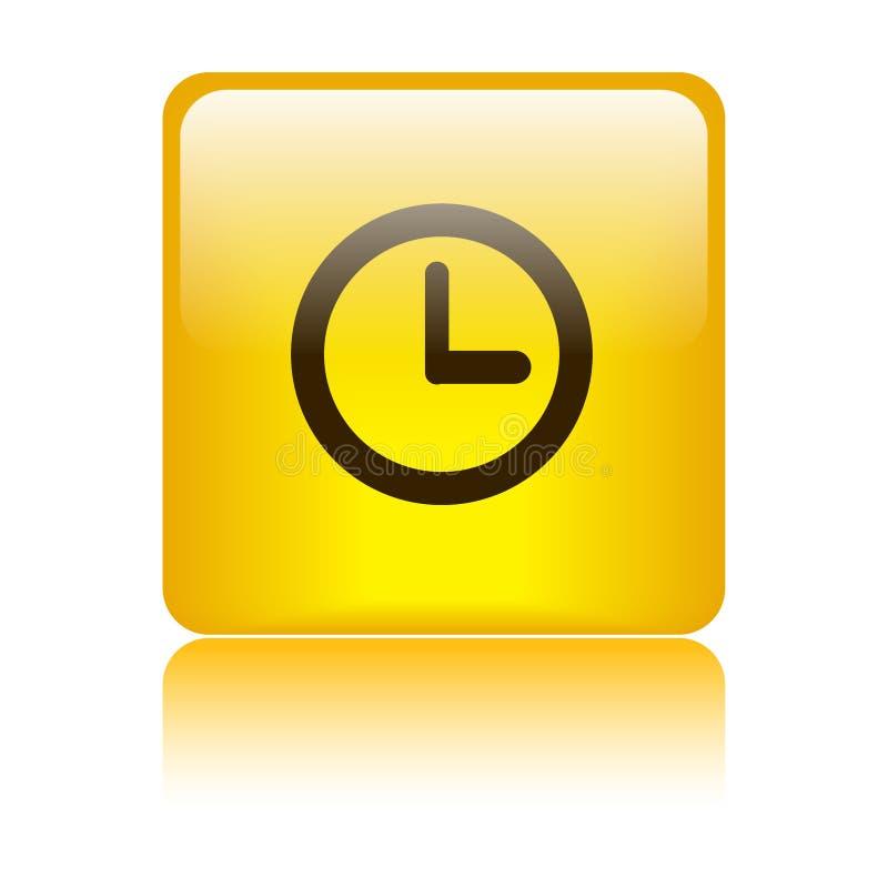 Cuadrado del botón del web del icono del reloj ilustración del vector