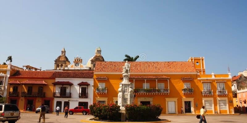 Cuadrado del coche en Cartagena de Indias, Colombia fotografía de archivo