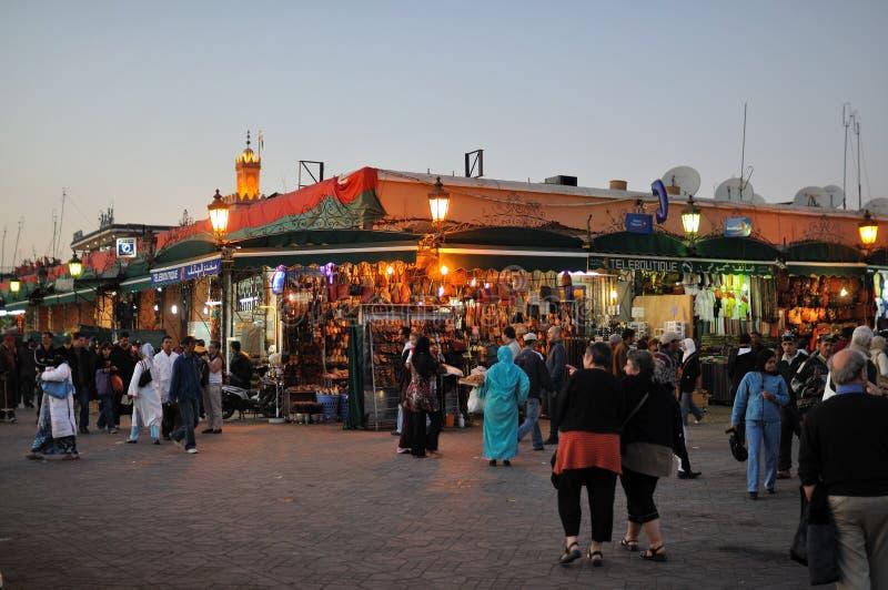 Cuadrado del EL Fnaa de Djemaa en Marrakesh fotos de archivo libres de regalías