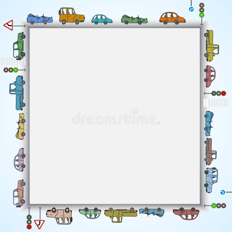 Cuadrado del marco de los coches ilustración del vector