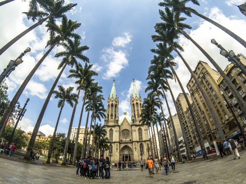 Cuadrado del SE y catedral metropolitana en Sao Paulo céntrico fotografía de archivo libre de regalías