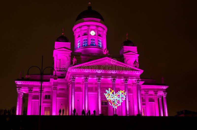 Cuadrado del senado de Helsinki iluminado imagen de archivo