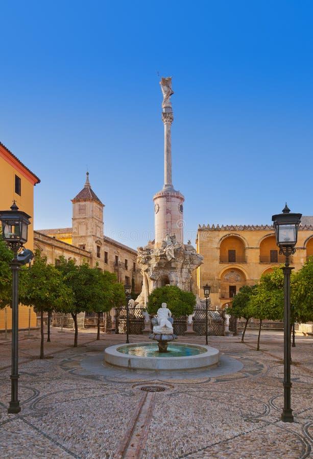 Cuadrado del triunfo de San Rafael en Córdoba España foto de archivo libre de regalías