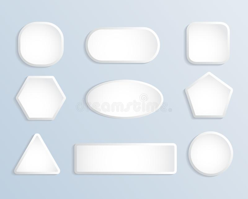 Cuadrado en blanco blanco y sistema redondo del vector de la acción del botón ilustración del vector