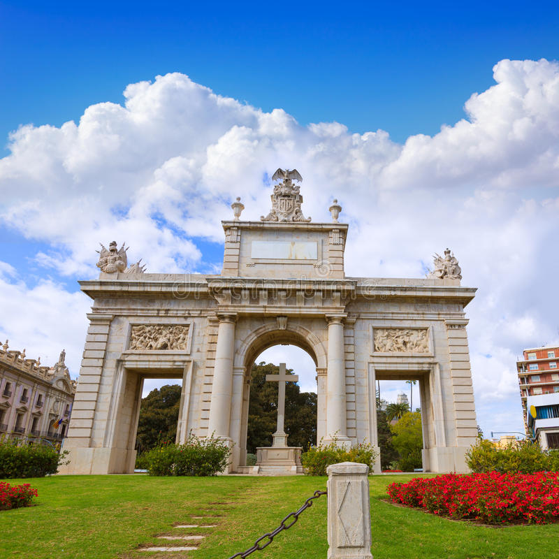 Cuadrado España de la puerta de Valencia Porta Puerta Del Mar fotos de archivo libres de regalías