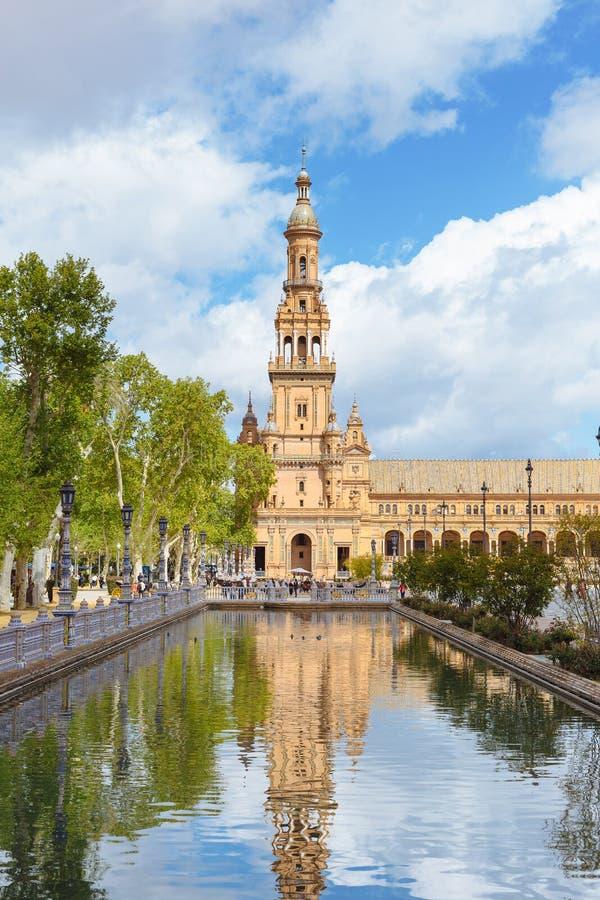 Cuadrado español (Plaza de Espana) en Sevilla, Andalucía, España, Europa imágenes de archivo libres de regalías