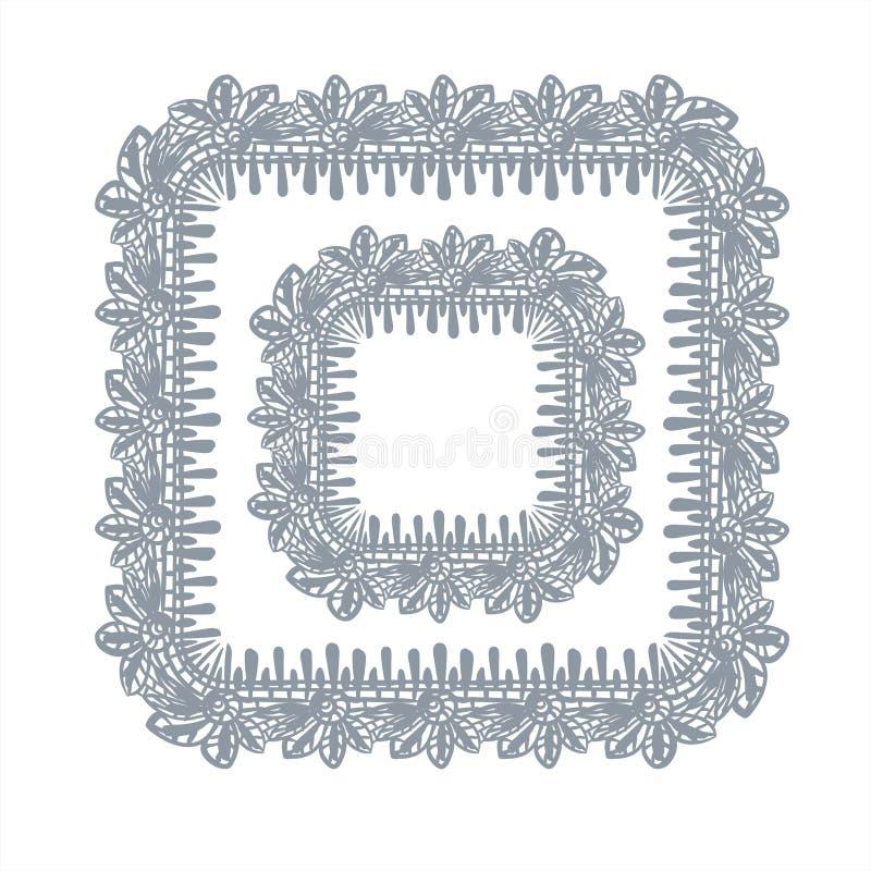 Cuadrado exhausto del dise?o del vector del marco del cord?n del elemento de la mano decorativa del fondo libre illustration