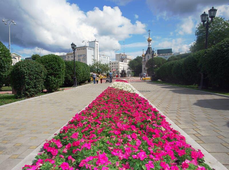 Cuadrado histórico de la esquina. Yekaterinburg, Rusia. imagen de archivo