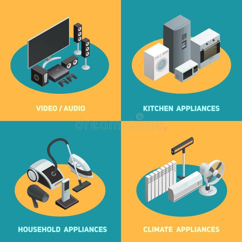 Cuadrado isométrico de los iconos de los aparatos electrodomésticos 4 stock de ilustración