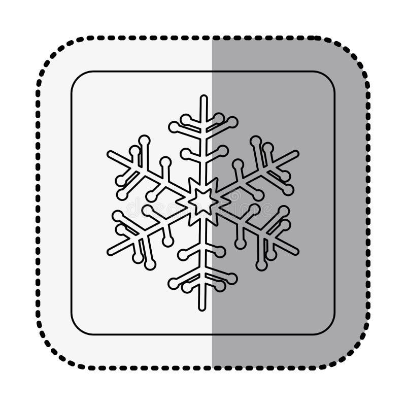 Cuadrado monocromático con la etiqueta engomada media de la sombra con el copo de nieve stock de ilustración