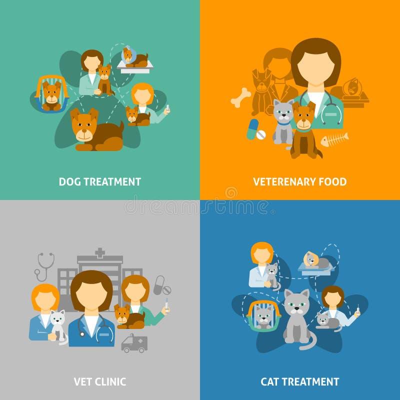 Cuadrado plano de los iconos de la clínica 4 veterinarios ilustración del vector