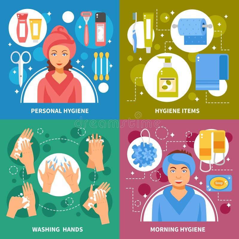 Cuadrado plano de los iconos del concepto 4 de la higiene libre illustration