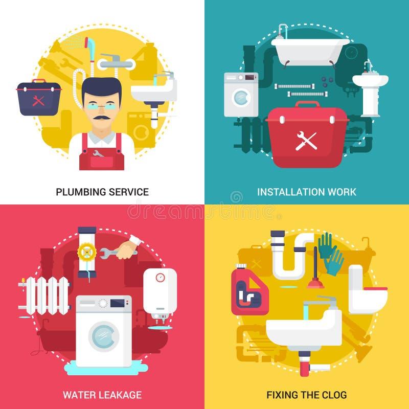 Cuadrado plano de los iconos del servicio 4 de la fontanería stock de ilustración
