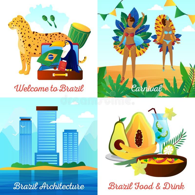 Cuadrado plano de los iconos del viaje 4 del Brasil libre illustration