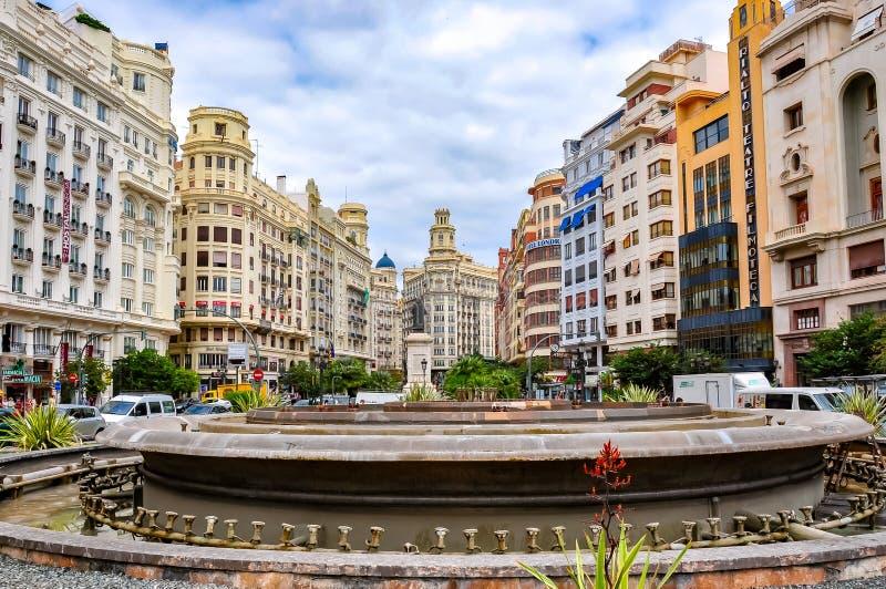 Cuadrado Plaza del Ayuntamiento de ayuntamiento en el centro de Valencia, España fotos de archivo libres de regalías