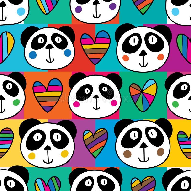 Cuadrado principal del amor de la panda inconsútil ilustración del vector