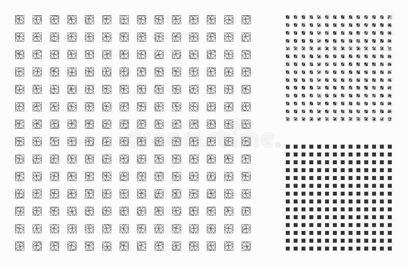 Cuadrado regular Dots Vector Mesh Network Model e icono del mosaico del triángulo stock de ilustración