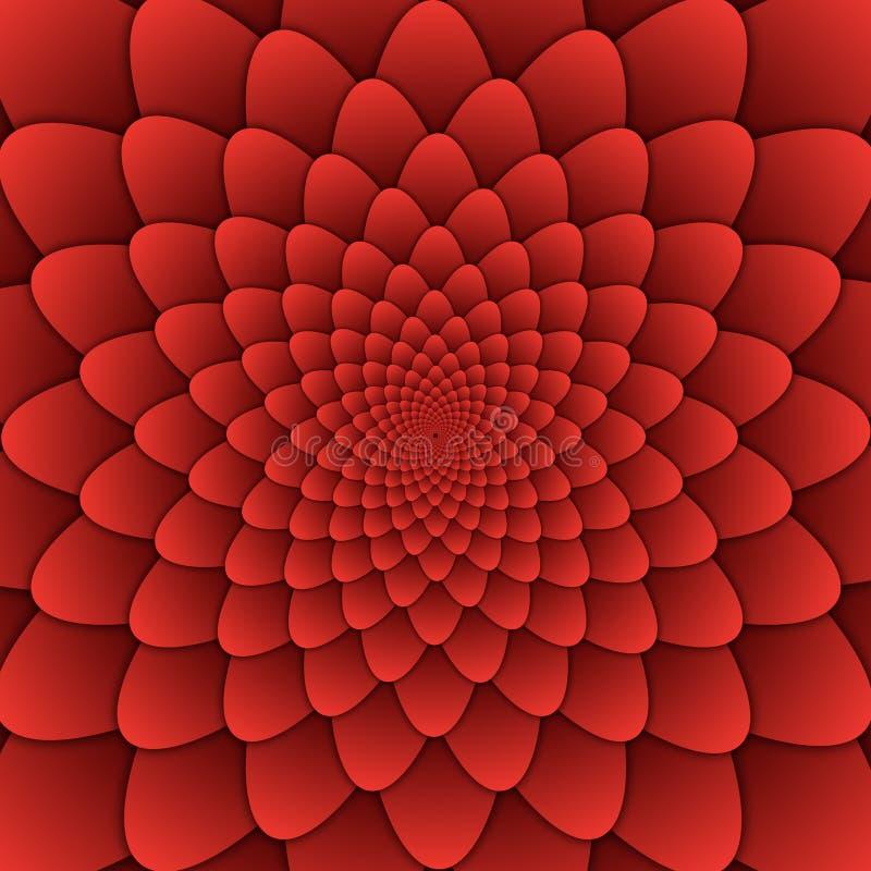 Cuadrado rojo del fondo del modelo decorativo de la mandala de la flor del extracto del arte de la ilusión stock de ilustración