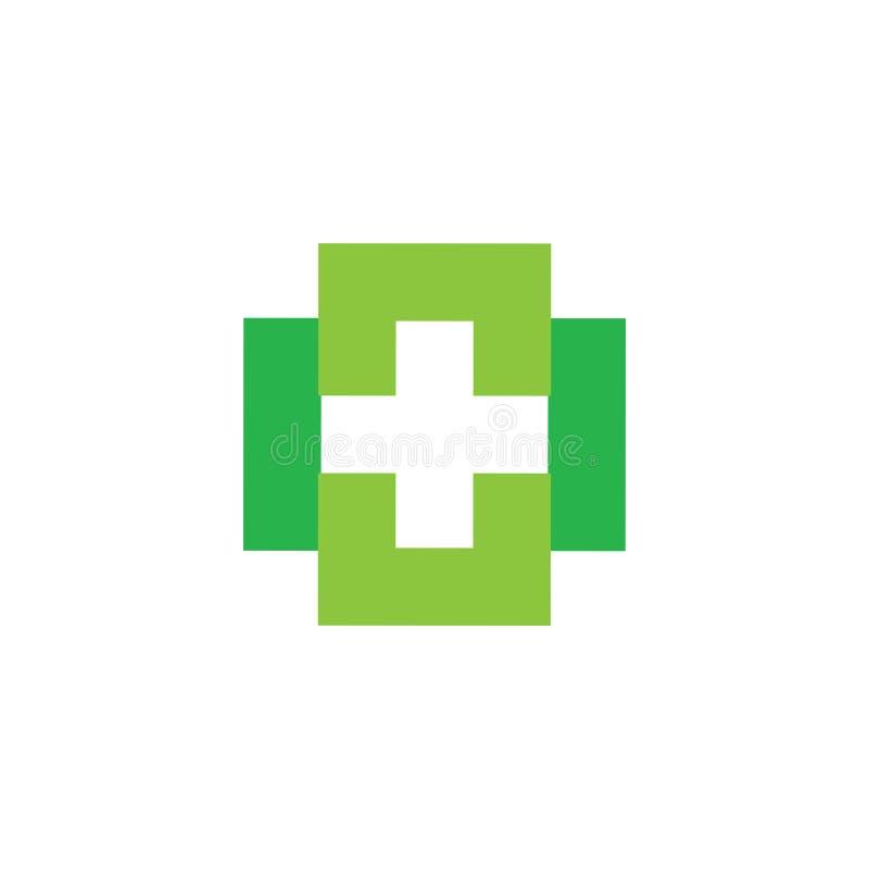 Cuadrado simple ligado geométrico más vector médico del logotipo stock de ilustración