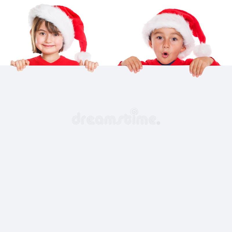Cuadrado vacío de la bandera de Santa Claus de la Navidad del muchacho de la muchacha de los niños de los niños imágenes de archivo libres de regalías