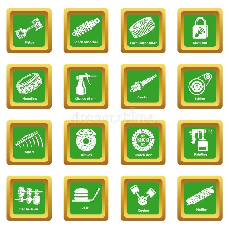 Cuadrado verde fijado iconos de las piezas de reparación del coche ilustración del vector