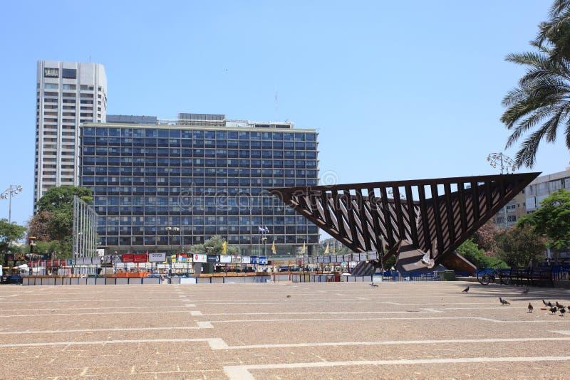 Cuadrado y ayuntamiento de Rabin en Tel Aviv - Israel fotografía de archivo libre de regalías
