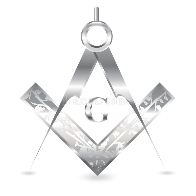 Cuadrado y compás de plata stock de ilustración