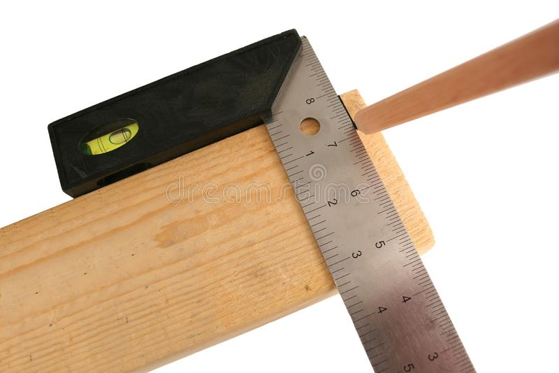 Cuadrado y lápiz de los carpinteros imagen de archivo libre de regalías