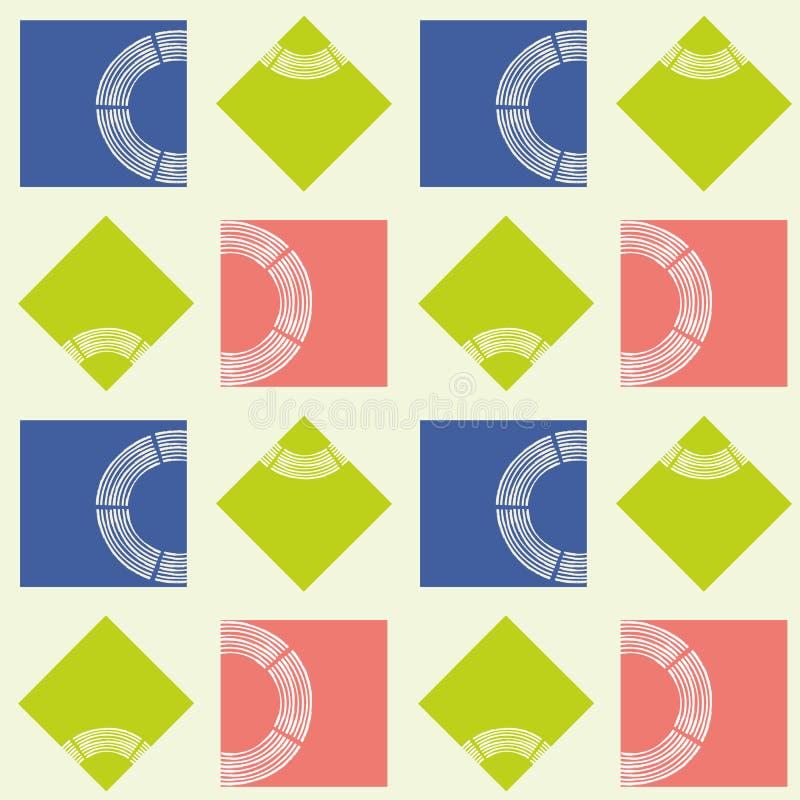 Cuadrados abstractos modernos de la cal, coralinos y azules con del cepillo textura del círculo semi Modelo geométrico inconsútil stock de ilustración