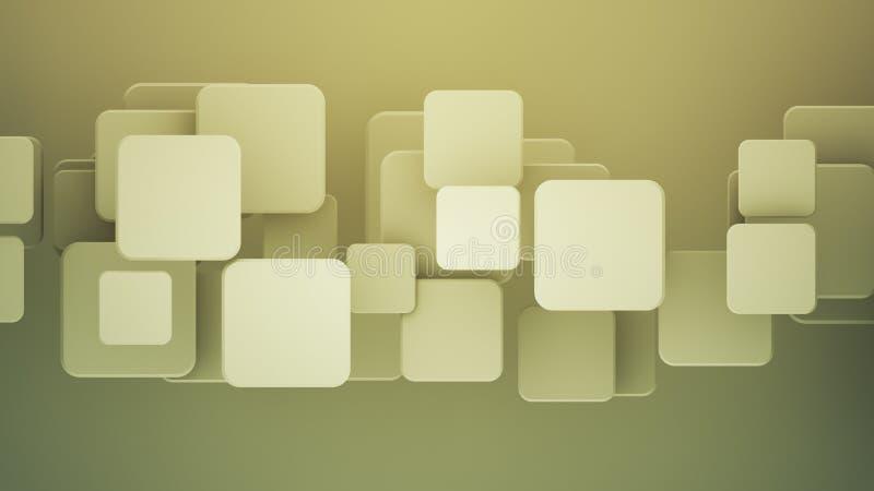 Cuadrados amarillos traslapados 3D rendir el fondo abstracto stock de ilustración