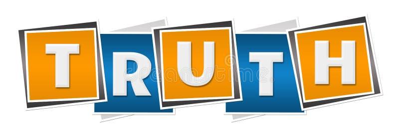 Cuadrados anaranjados azules de la verdad stock de ilustración