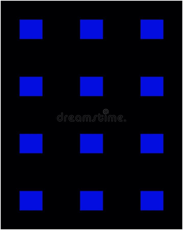 Cuadrados azules en marco negro imagenes de archivo