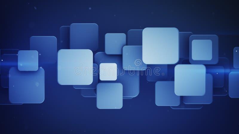 Cuadrados azules traslapados 3D rendir el ejemplo ilustración del vector