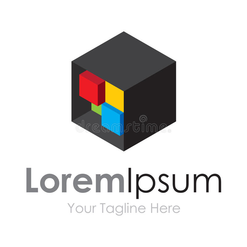 Cuadrados coloridos de la creatividad ocultados en el logotipo del icono del elemento de la caja negra para el negocio ilustración del vector
