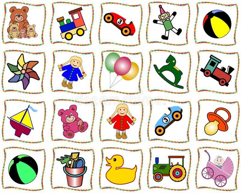 Cuadrados con los juguetes ilustración del vector