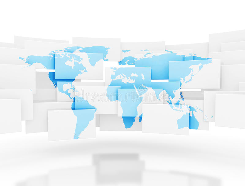 cuadrados 3d con el mapa del mundo stock de ilustración