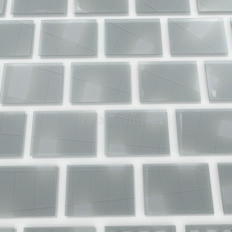 Cuadrados de cristal en la pared stock de ilustración