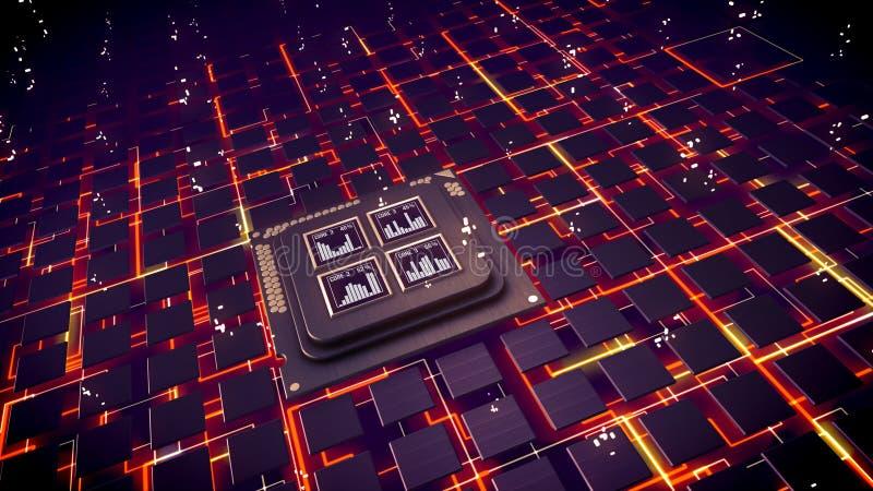 Cuadrados de la CPU que chispean en áreas cibernéticas ilustración del vector