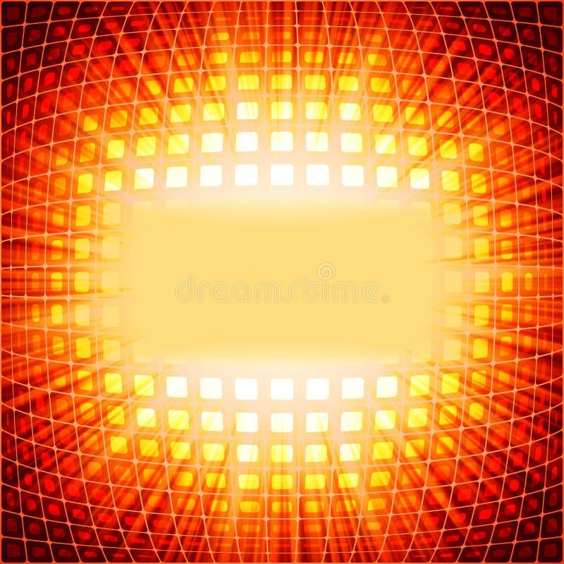 Cuadrados de la tecnología con la explosión roja de la llamarada. EPS 10 stock de ilustración