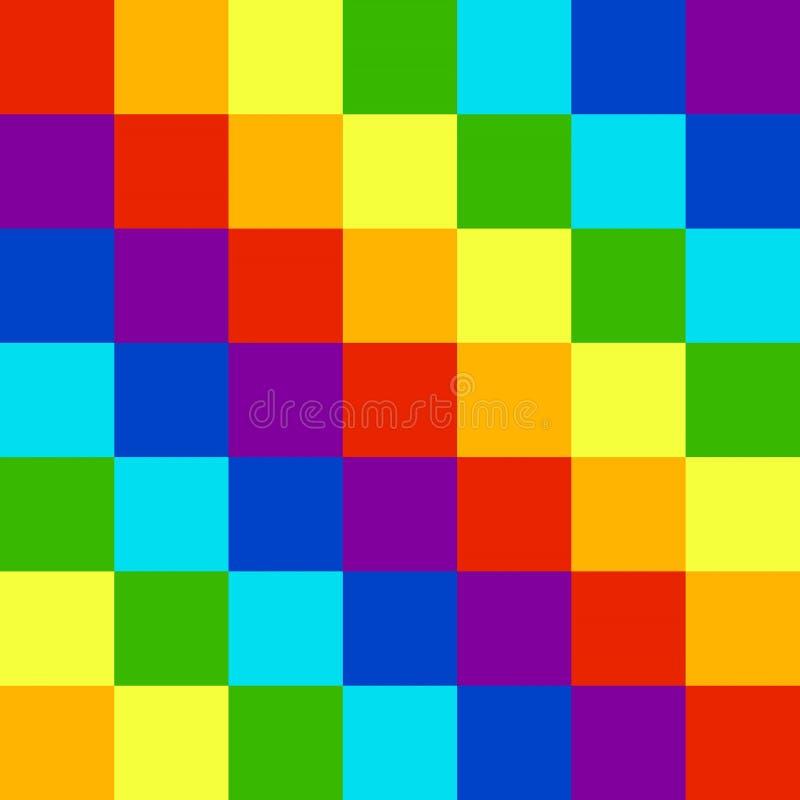 Cuadrados de los cubos de los colores del arco iris stock de ilustración